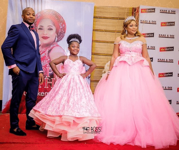 Actress Kemi Afolabi shows off her husband and daughter at her birthday party