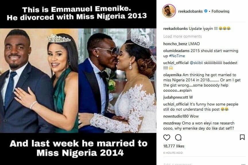 Emenike divorced Miss Nigeria 2013 and got married to Miss Nigeria 2014 - Reekado Banks