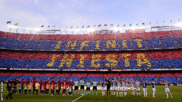 Barcelona pays tribute to Iniesta has he ends his career at the club