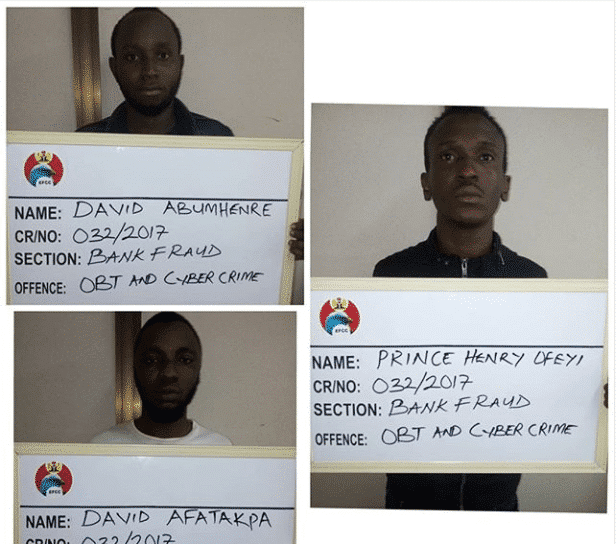 EFCC sends three young men to jail for internet fraud