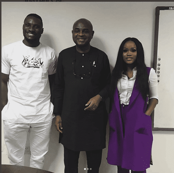 Photo of Presidential candidate, Kingsley Moghalu spotted with BBNaija 2018 contestants, Angel and Cee-C