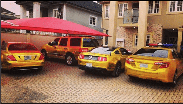 Photo of Kcee shows off his fleet of cars