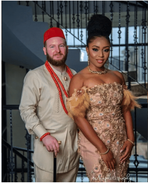 Photo of Beautiful pre-wedding photos of a white man and his Igbo bride in traditional attires