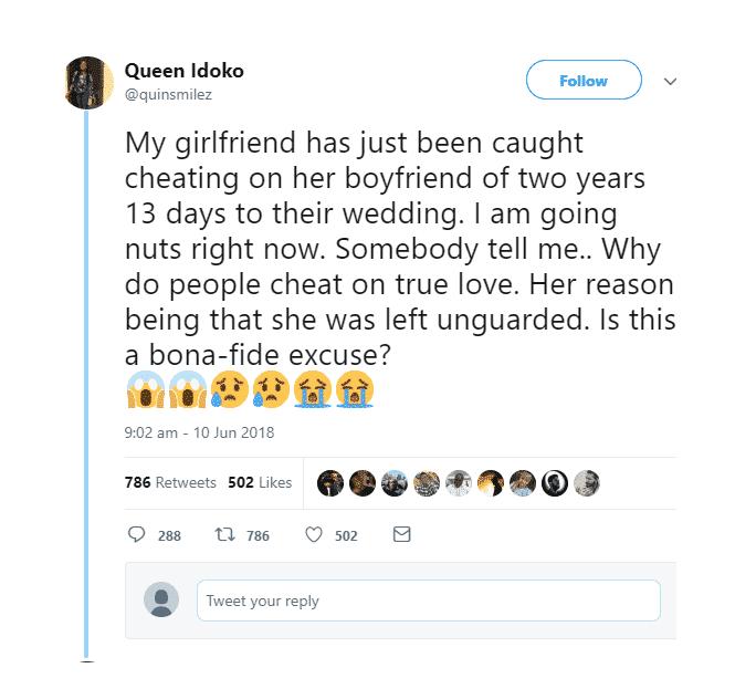 friend cheated, 13 days to her wedding