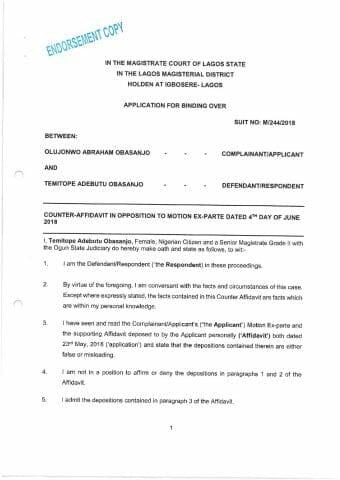 Obasanjo v. Obansanjo Counter Affidavit in Opposition to Application For Binding Over as filed page 001