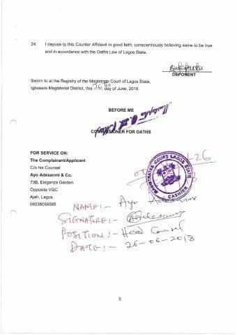 Obasanjo v. Obansanjo Counter Affidavit in Opposition to Application For Binding Over as filed page 005