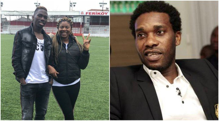 Photo of Kenneth Omeruo's wife calls Jay Jay Okocha a mad man for criticizing her husband
