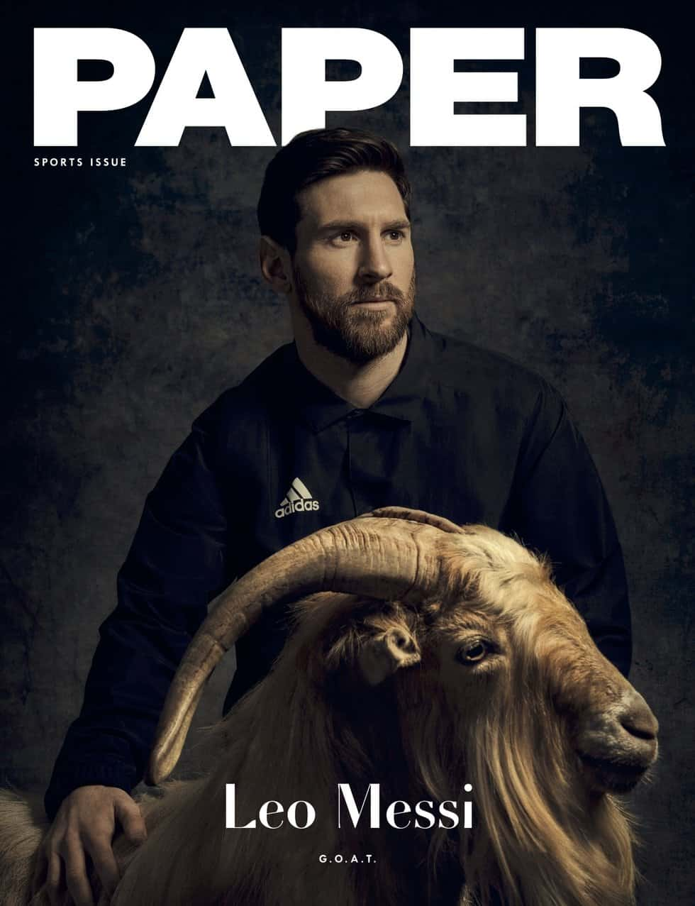 Photo of Lionel Messi poses with a goat as he covers PAPER Magazine's first sport issue