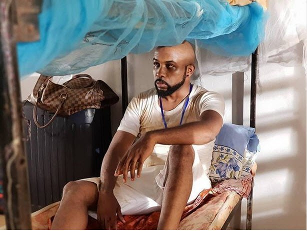 Banky W looks dirty on set of a new movie as a corper