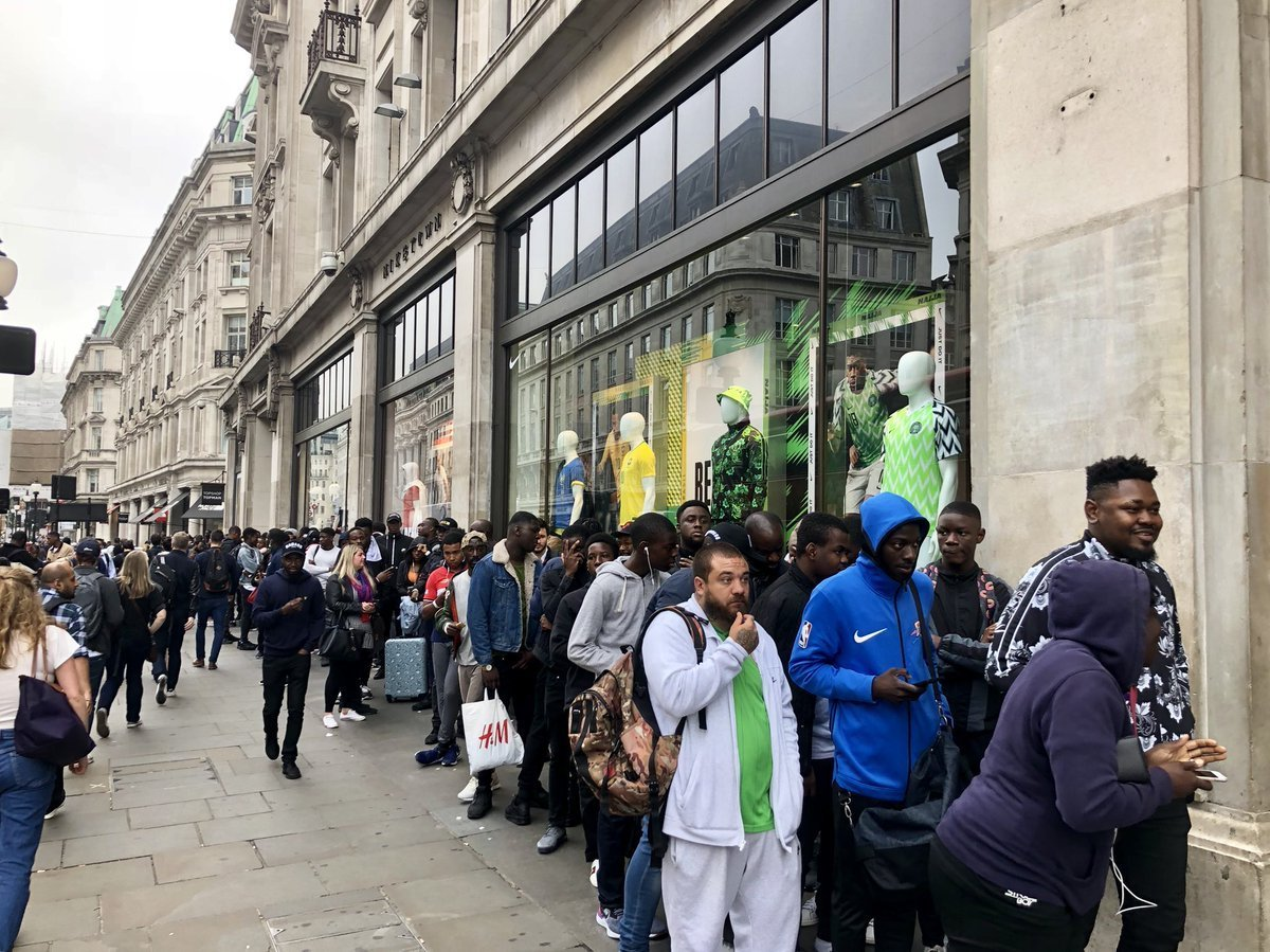 Fans queue in Nike store London to get the newly launched Super Eagles kits