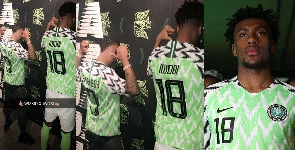 Photo of Arsenal player, Aubameyang begs Alex Iwobi to give him a Super Eagles jersey