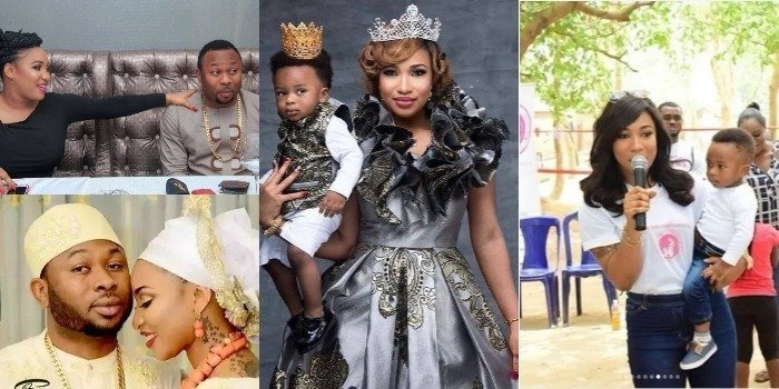 Photo of Tonto Dikeh stands in as her son's father, plays football with men during Father's Day