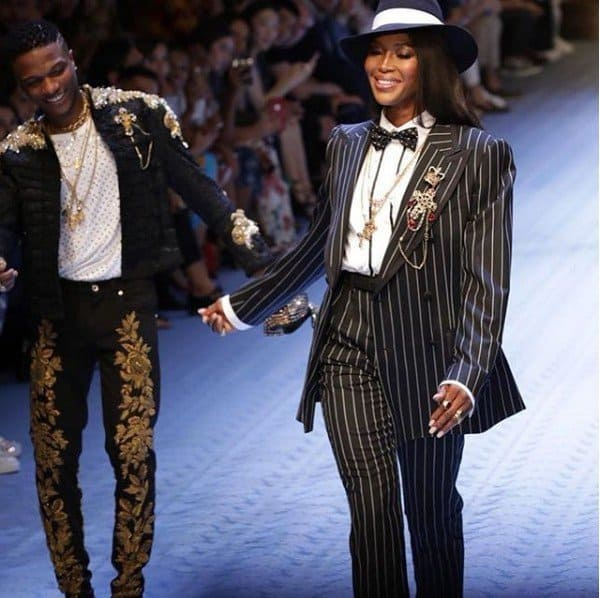 Photo of Wizkid and Naomi Campbell dazzle at Dolce & Gabbana show in Milan