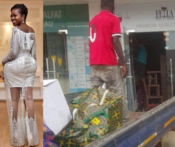 Photo of Angry boyfriend closes down wine shop opened for Ghanaian actress, Fella Makafui