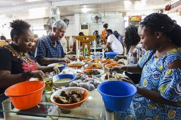 Photos of CNN's Anthony Bourdain enjoying some Nigerian food