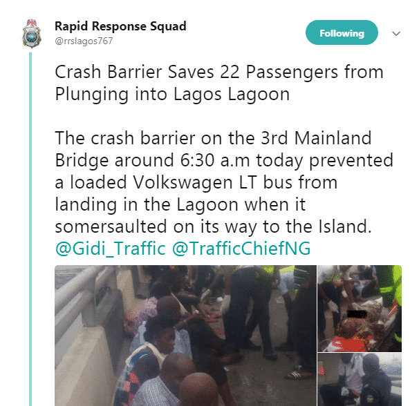 bus somersaults on 3rd mainland bridge