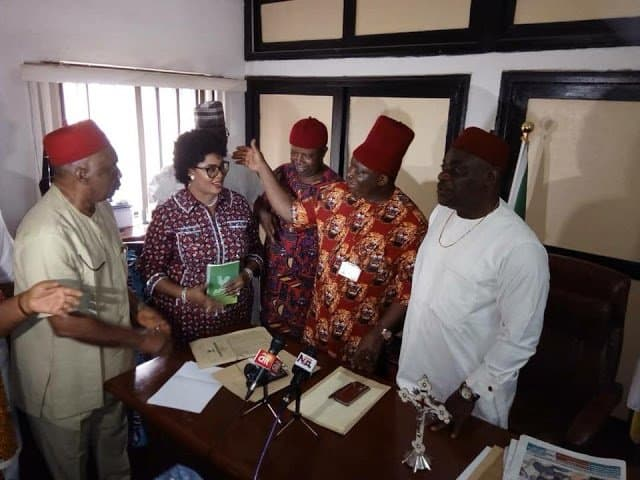 The moment Senator Stella Oduah officially joined APGA (Photos)