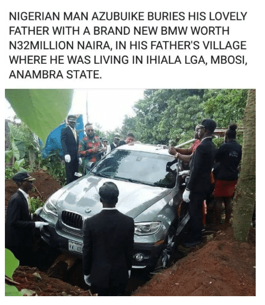 Man buries his father in a N32m BMW
