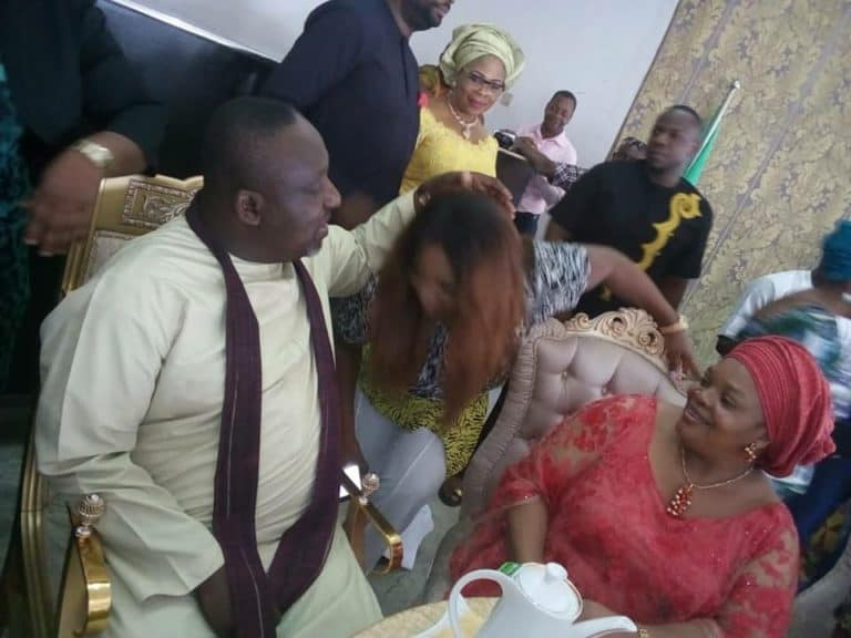 Photo of Rochas Okorocha and wife excited as their latest grandchild arrives Imo from the US (Photos)