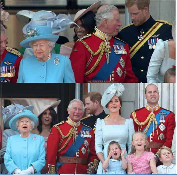 Photo of Meghan makes her first balcony appearance at Buckingham Palace,  joins the Queen to celebrate her official 92nd birthday (Photos)