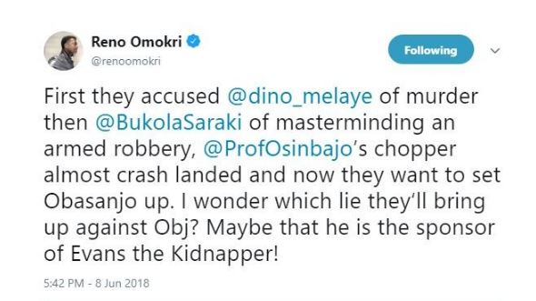 Photo of 'First they accused Dino Melaye of murder, then Saraki of masterminding an armed robbery and now they want to set Obasanjo up' – Reno Omokri