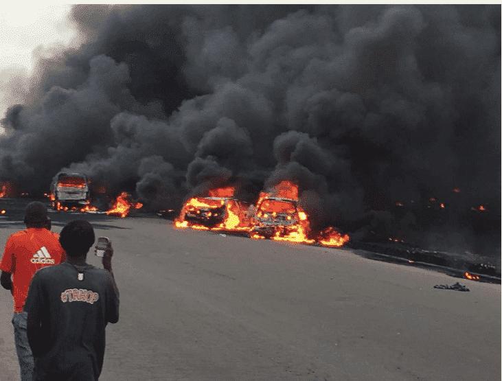 Photo of Many feared dead as tanker explodes around Otedola bridge, Lagos-Ibadan expressway (photos)