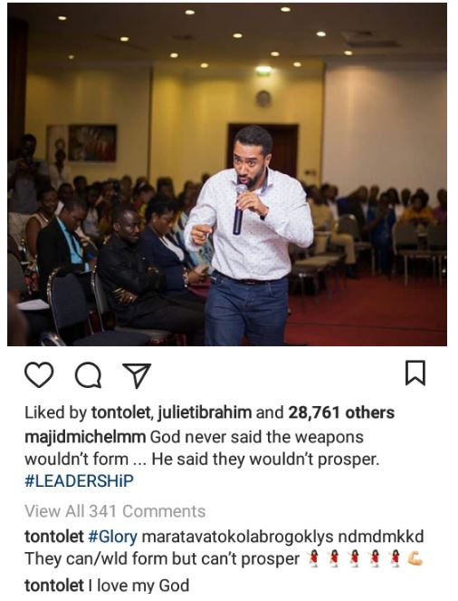 Tonto Dikeh writes in tongues