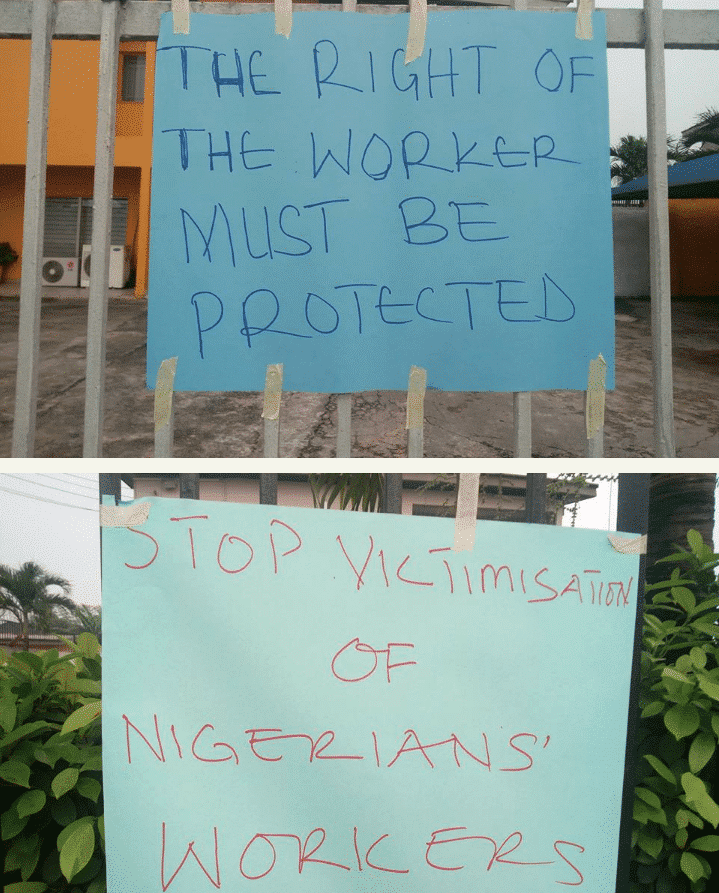 Photo of Ill-Treatment Of Staff: NLC takes over the premises of MTN offices (Photos)
