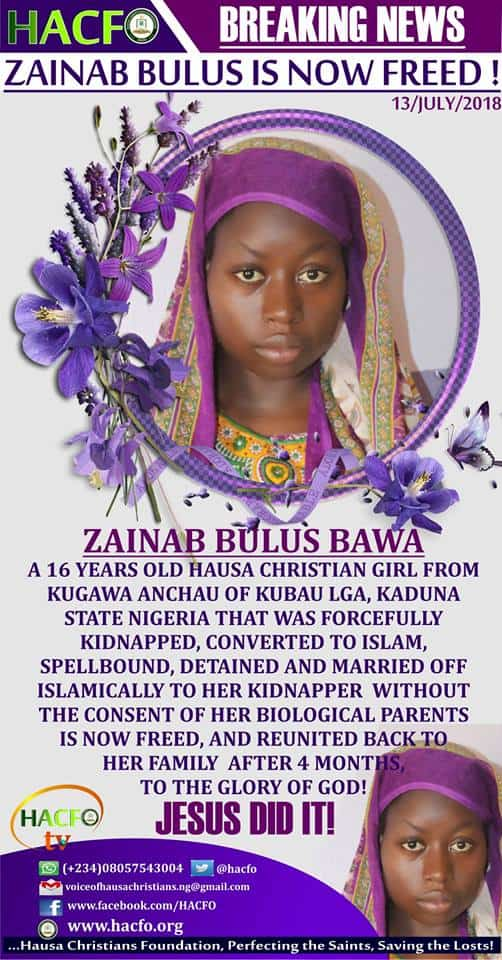 Photo of Hausa Christian girl kidnapped and forcefully Islamized finally returns to her parents