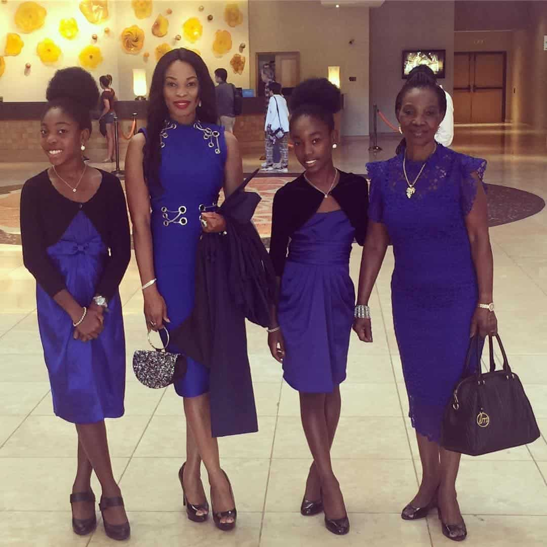 Actress Georgina Onuoha, her mother and two daughters rock matching outfits