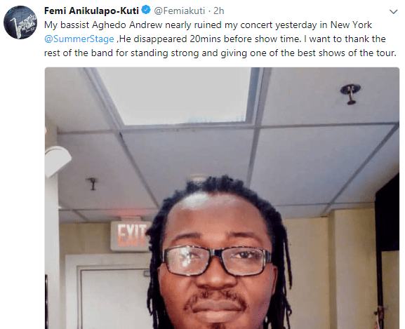 Femi Kuti calls out band member who disappeared before his New York concert