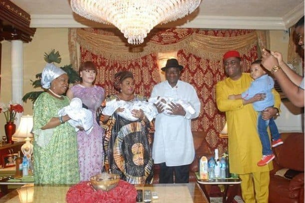 Photo of Ex-president Goodluck Jonathan and wife visit Femi Fani-kayode's triplets