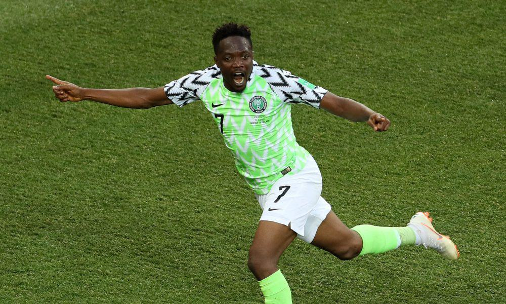 Photo of Ahmed Musa reacts as his goal is nominated for world cup goal of the tournament