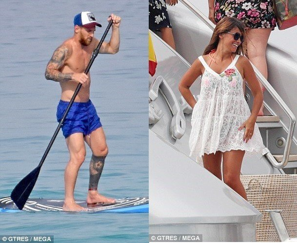 Messi and wife go paddle-boarding as they enjoy holiday in Ibiza (Photos)