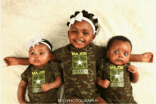 Photo of Comedian Akpororo's twin babies & their first daughter in matching outfit