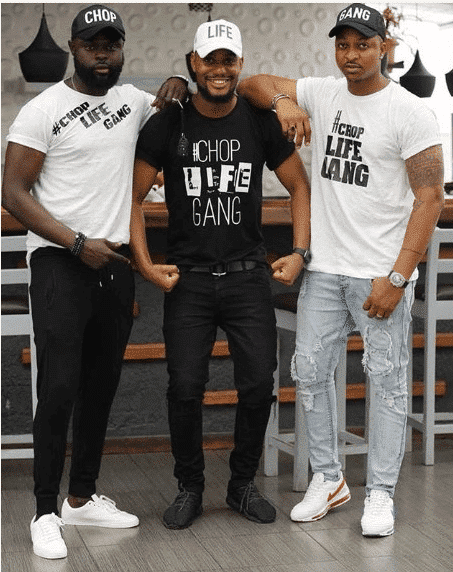 "Photo of Alexx Ekubo, Yomi Casual, IK Ogbonna rock customized ""Chop Life Gang"" outfits"