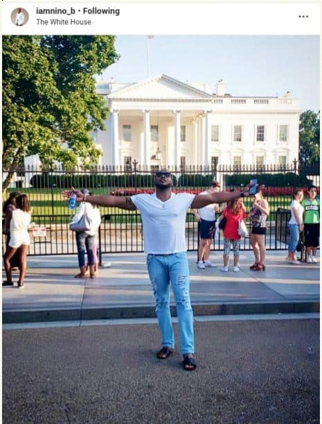 Photo of Actor Bolanle Ninalowo visits white house in Washington DC, poses with Trump statue