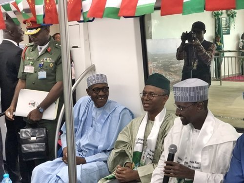 Photo of Moment Buhari took a ride inside the newly commissioned Abuja Light Rail (Photos)