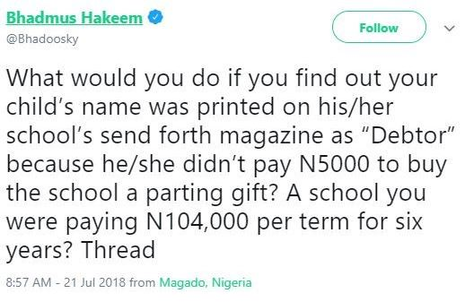 Nigerian Private Secondary School Prints Names Of Students Owing