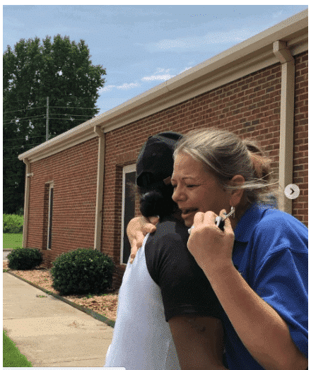 Photo of Courtney Adeleye, surprises her daughter's white teacher with new car