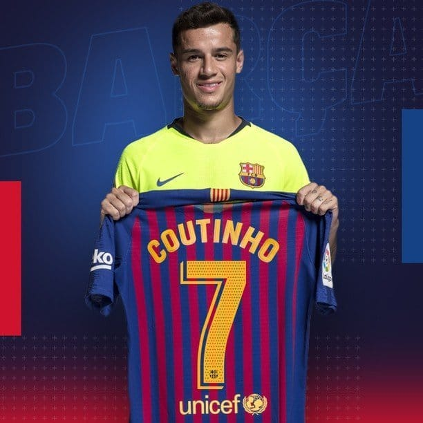 Philippe Coutinho gets the number 7 shirt at Barcelona