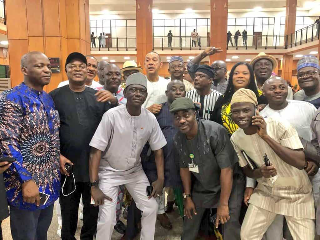 How PDP senators posed for pictures after finally gaining entrance into NASS