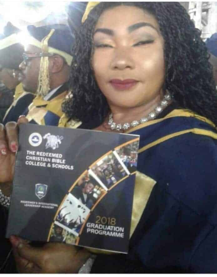 Photo of Eucharia Anunobi graduates from the Redeemed Christian Bible College
