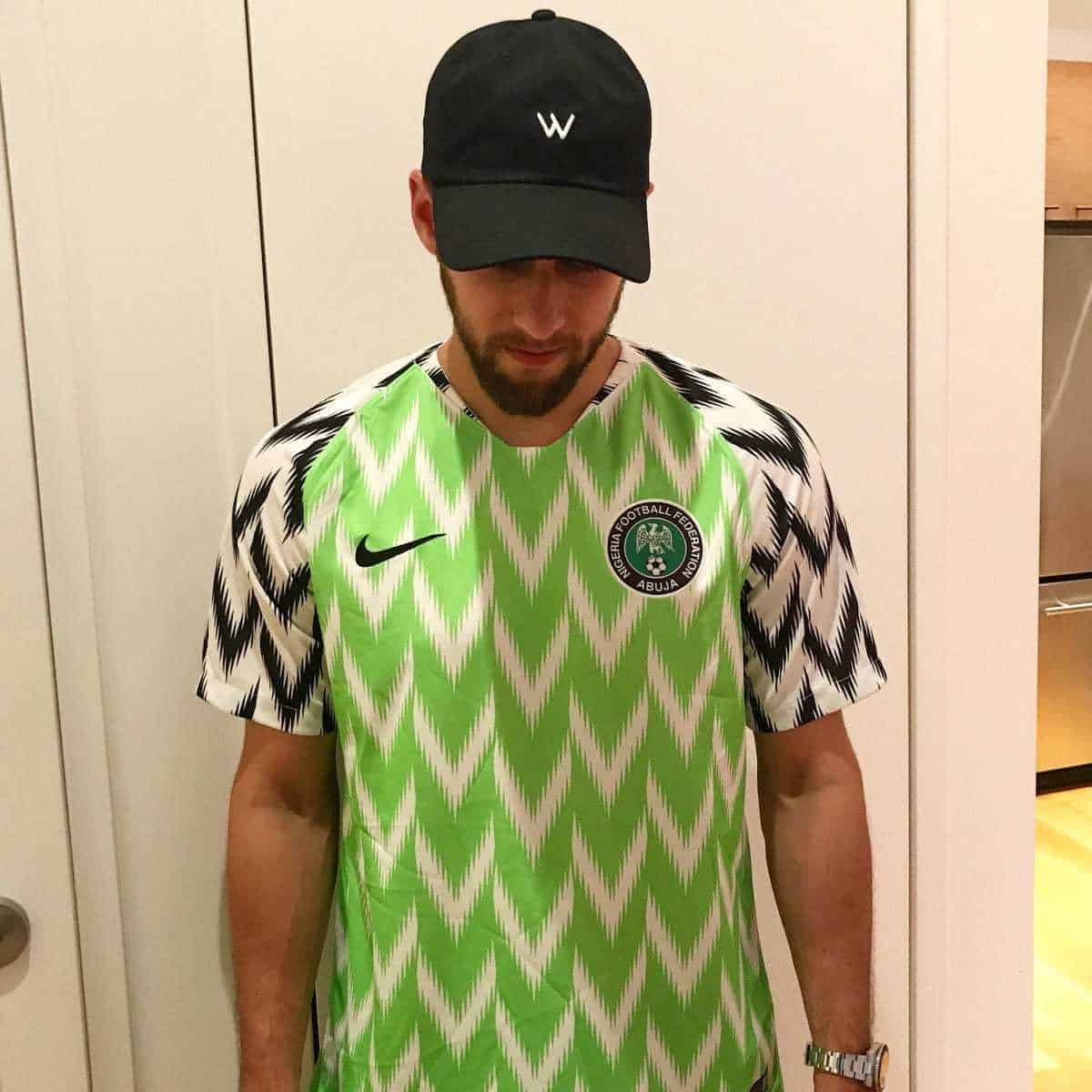 Photo of American man excited as Nigerian man sent him a jersey after World Cup meeting