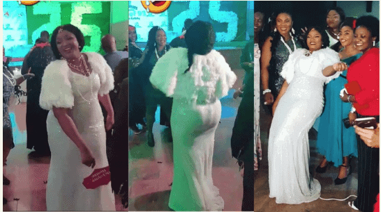 Photo of Omotola Jalade dancing at her school reunion after 25 years