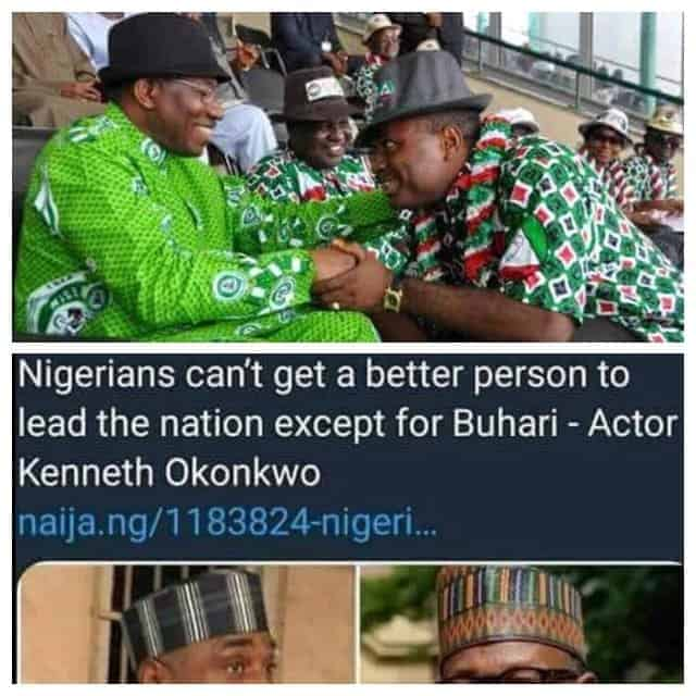 Photo of Picture of Kenneth Okonkwo praising GEJ just as he's praising PMB now