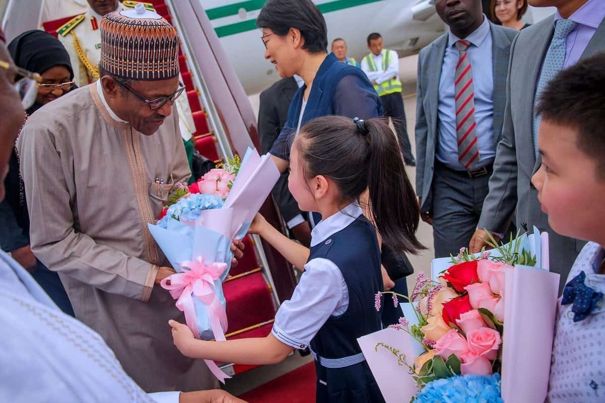Photo of President Buhari receives grand welcome as he arrives China for #FOCAC2018