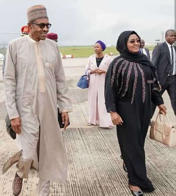 Photo of President Buhari jets off  to China with wife, Aisha and daughter
