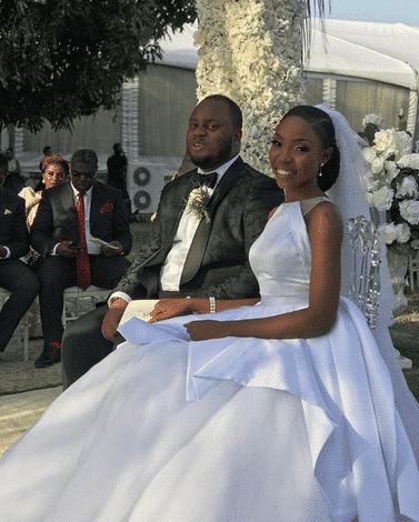 Lala Akindoju and Chef Fregz white wedding