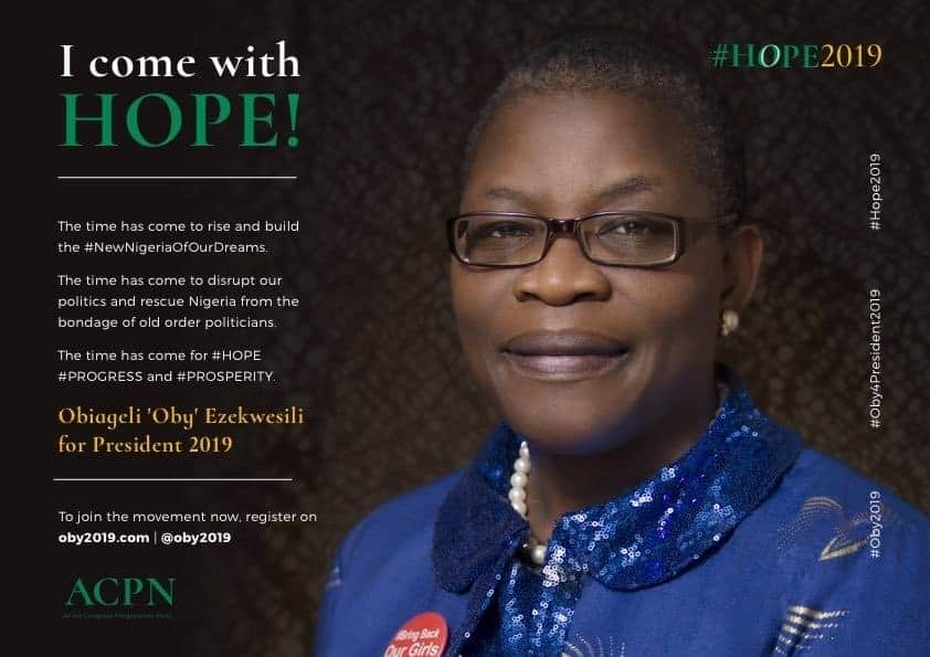 Photo of #HOPE2019: Oby Ezekwesili declares to run for presidency under new party, ACPN (WATCH)
